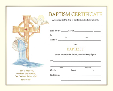 Holy family catholic parish resources for Catholic baptism certificate template